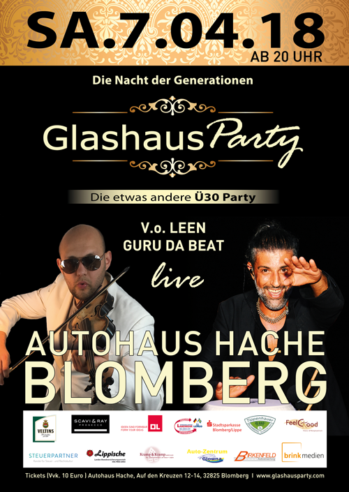 Plakat_GlashausParty_Hache_Blomberg_07.04.2018_Din_A1