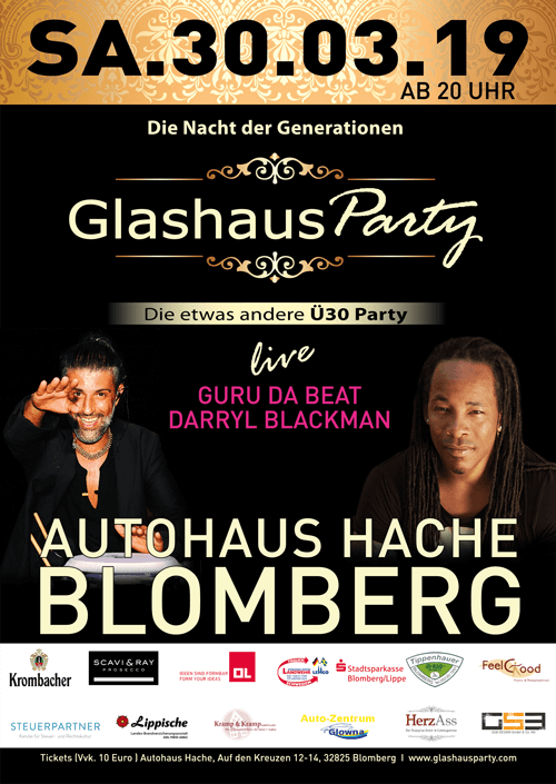 Plakat_GlashausParty_Hache_Blomberg_30.03.2019_Din_A1_500px